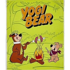 Yogi Bear and Boo Boo Campfire Large Green Cotton Fabric Panel