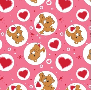 Picture of The Care Bears Tenderheart Bear and  Hearts in Pink Cotton Fabric