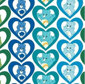 The Care Bears Cool Hearts in Turquoise Cotton Fabric
