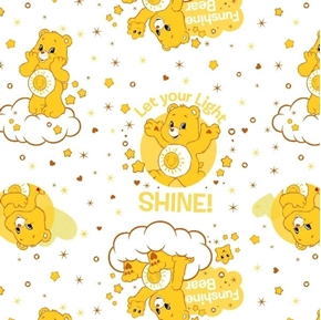 The Care Bears Funshine Bear Let Your Light Shine Yellow Cotton Fabric