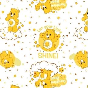 The Care Bears Funshine Bear Let Your Light Shine Yellow Cotton Fabric
