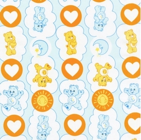 The Care Bears Funshine and Bedtime Bears Blue Cotton Fabric