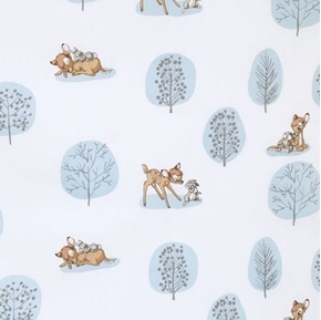 Picture of Disney Bambi Forest Scene Thumper White and Light Blue Cotton Fabric