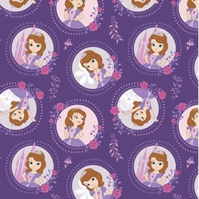 Disney Sofia Floral Frame Sofia the First Purple Cotton Fabric