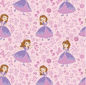 Picture of Disney Sofia Meadow Sofia the First Lilac on Pink Cotton Fabric