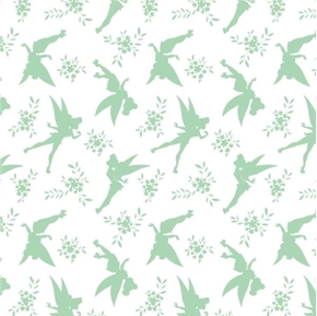 Disney Tinkerbell Tink Silhouette Mint Green Peter Pan Cotton Fabric