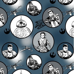 Star Wars The Force Awakens Badges Characters Midnight Cotton Fabric