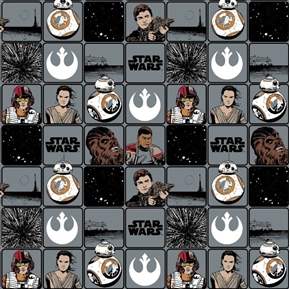 Picture of Star Wars Heroes in Squares The Force Awakens Grey Cotton Fabric
