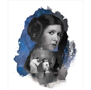Star Wars Princess Leia Blue Large Cotton Fabric Panel