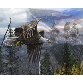Picture of Free Like An Eagle Patriotic Military Soldiers Cotton Fabric Panel