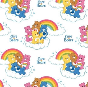 The Care Bears Rainbow Bears on Clouds White Cotton Fabric