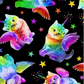 Picture of Rainbow Unicorn Cats Colorful Kittens on Black Cotton Fabric