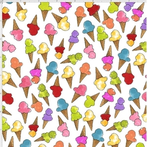 Its A Party Ice Cream Cones on White Loralie Cotton Fabric