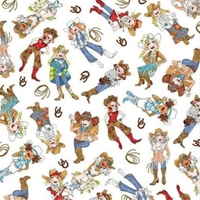 Picture of Whoa Girl! Cowgirl Toss Women Cow Girls Loralie White Cotton Fabric