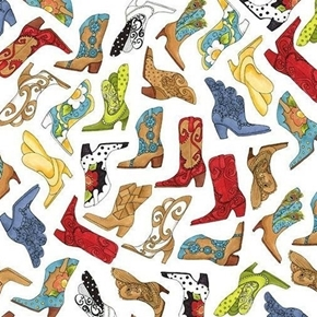 Whoa Girl! Bootery Cowgirl Boot Toss Loralie White Cotton Fabric
