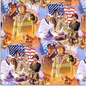 Picture of Pride and Courage Heroes Firemen Police Military Soldier Cotton Fabric