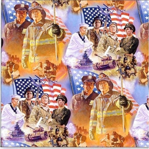 Pride and Courage Heroes Firemen Police Military Soldier Cotton Fabric