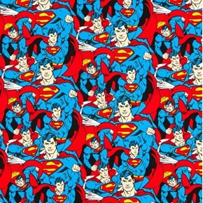 Picture of DC Comics Superman Crowd Packed Clark Kent Blue Cotton Fabric