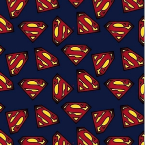 DC Comics Superman Logo Superhero Insignia Navy Blue Cotton Fabric