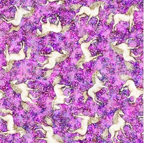 Picture of Mystical Unicorn Tossed Unicorns Magical Fantasy Lilac Cotton Fabric