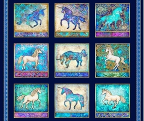 Mystical Unicorn Picture Patches Navy Blocks Cotton Fabric Panel