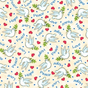 Picture of Jesus Loves Me Doves Peace Hope Love Hearts Cream Dove Cotton Fabric