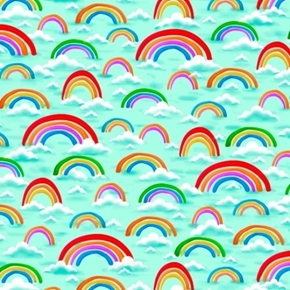 Jesus Loves Me Rainbows and Clouds Light Teal Cotton Fabric