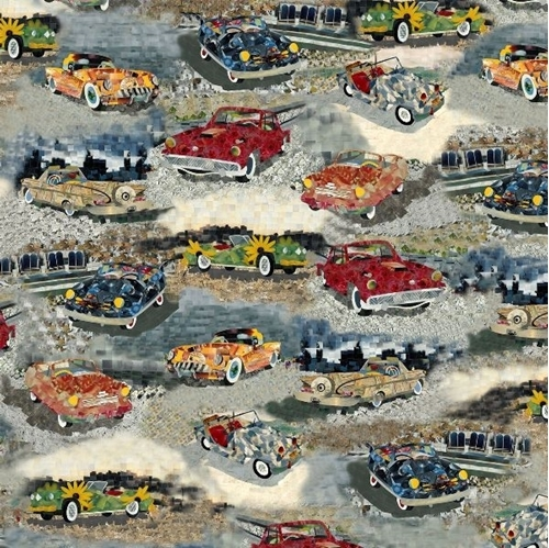 Artworks XIII Car Scenic Classic Cars Pixel Art Digital Cotton Fabric
