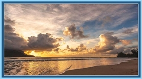 Artworks XIII Sunset at the Beach Beautiful Ocean 24x44 Fabric Panel