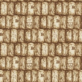 Picture of Wine Night Assorted Wine Corks Brown Cork Cotton Fabric