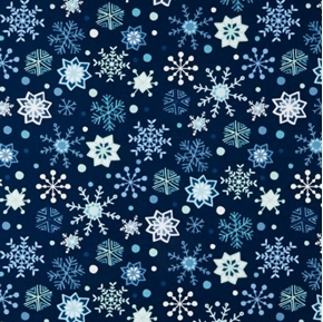 Picture of Snow Happy Blue and Aqua Snowflakes on Navy Blue Cotton Fabric