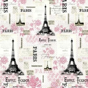 Paris Pink French Eiffel Tower Vintage Travel Photos Cotton Fabric