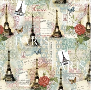 Paris Spring Travel France Eiffel Tower Roses Post Card Cotton Fabric
