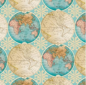 Picture of Vintage Globes World Map Antique Globe Teal Cotton Fabric
