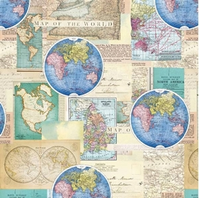 Picture of Vintage Cartography Antique World Maps Globe Cotton Fabric
