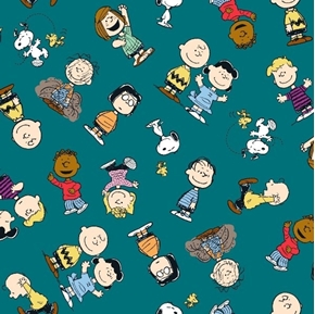 Picture of Peanuts Everyday Gangs All Here Toss Charlie Brown Teal Cotton Fabric