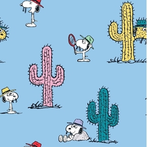 Peanuts Everyday Snoopy and Cactus Spike Blue Cotton Fabric