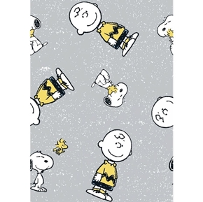 Peanuts Everyday Snoopy and Charlie Brown Woodstock Grey Cotton Fabric