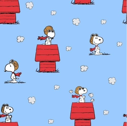 Picture of Peanuts Snoopy and The Red Baron Toss Doghouse Blue Cotton Fabric