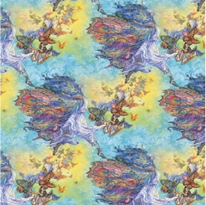 Picture of Wings of Joy Butterfly Fairy Flight Pastel Rainbow Cotton Fabric