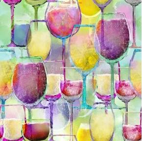 Sip and Snip Wine Glasses Rainbow Pastel Glass Digital Cotton Fabric