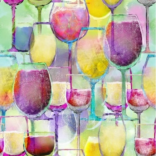 Picture of Sip and Snip Wine Glasses Rainbow Pastel Glass Digital Cotton Fabric