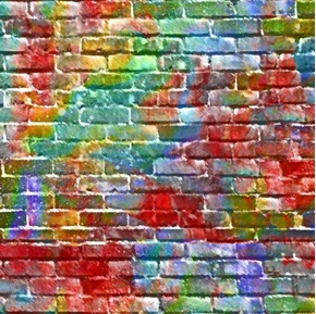 Picture of Sip and Snip Brick Wall Rainbow Pastel Bricks Digital Cotton Fabric