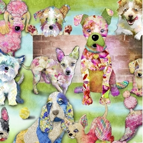 Good Dogs Too Packed Dogs Cute Decorated Pups Cotton Fabric