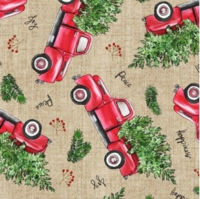 Picture of Christmas Holiday Vintage Christmas Red Truck Peace Cotton Fabric