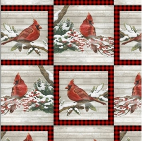 Picture of Christmas Holiday Cardinal Patch Cardinals Gingham Wood Cotton Fabric