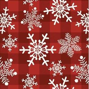 Picture of Christmas Holiday Snowflake Gingham Snowflakes Red Plaid Cotton Fabric