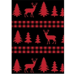 Picture of Christmas Holiday Deer Plaid Red Tree and Deer Stripe Cotton Fabric