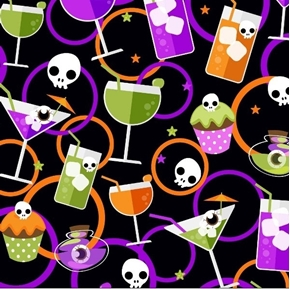 Halloween Fun Toxic Tonics Eyeball Cocktails Cupcakes Cotton Fabric