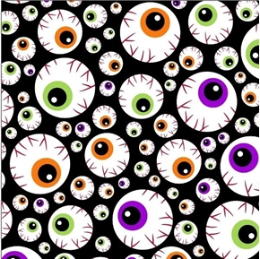 Halloween Fun Halloween Eyeballs on Black Cotton Fabric